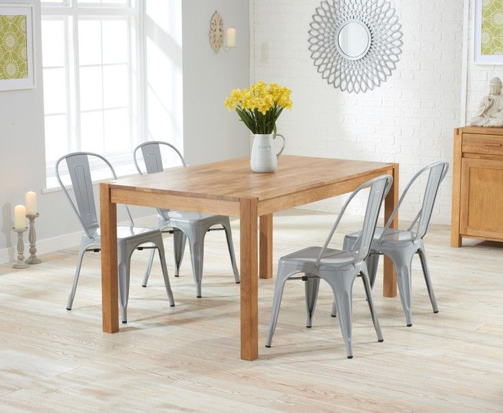 Oxford 120cm Solid Oak Dining Set With Grey Xavier Tolix Industrial Style  Metalu2026