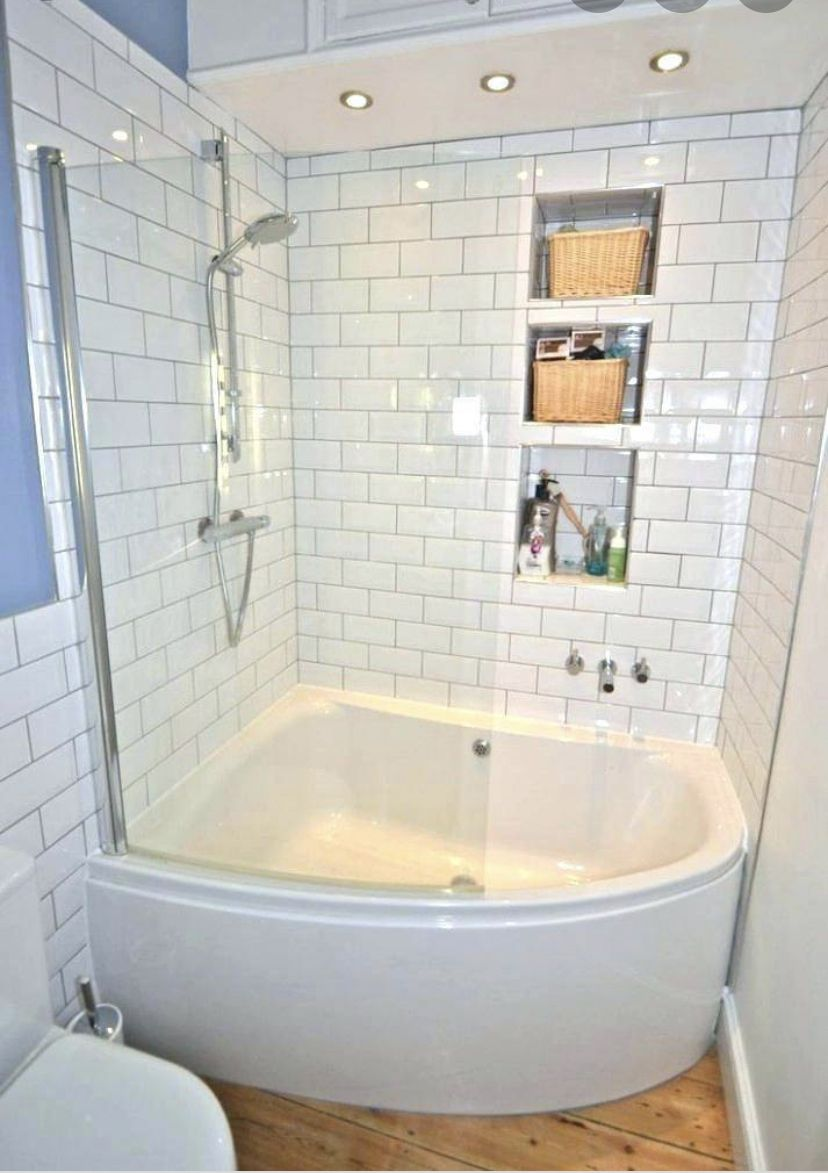 Pin By Rocio Ferguson On For The Home In 2020 Corner Tub Shower Combo Corner Tub Shower Small Bathroom Layout