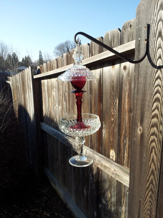 Red and Clear glass hanging bird feeder by SingleMommyMadness, $42.00