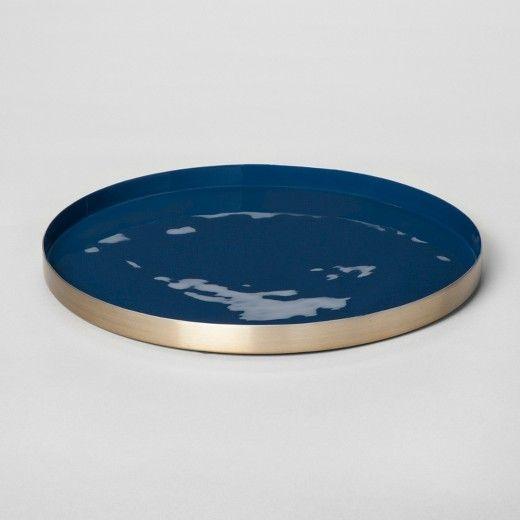 Round Decorative Tray Enamel Tray Large  Bluegold  Project 62™  Decorative Trays