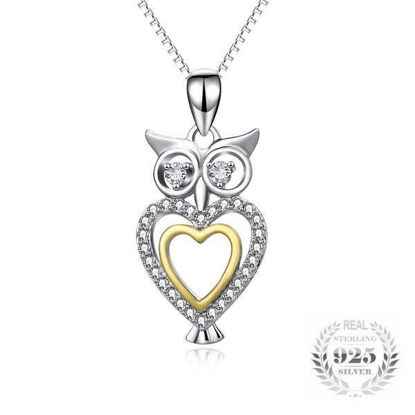 YFN 925 Sterling Silver Lucky Two Tone Owl Pendant Neckalce Jewellery for Women Girls ia2eJR5