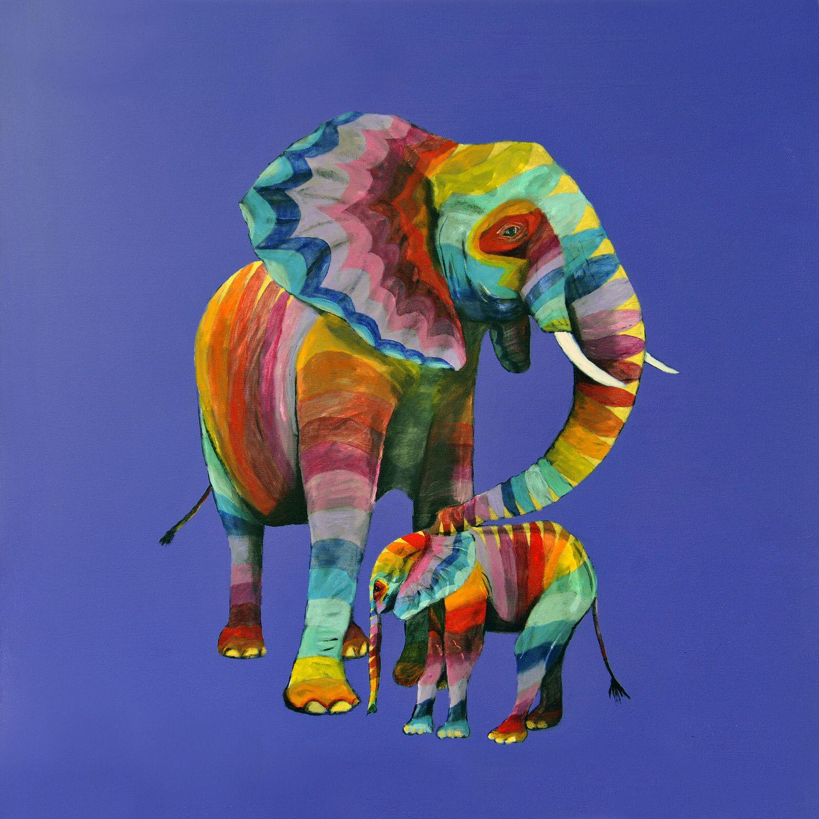 Rainbow Elephants X Safari Art Elephant Art Animal Paintings