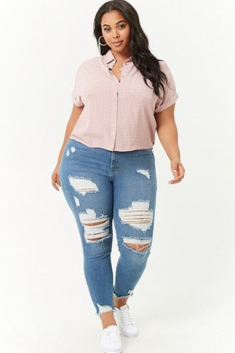 c1d29c95207 Plus Size Distressed Denim Skinny Pants | Products | Fashion ...
