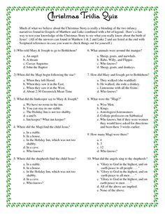 Printable Christmas Trivia Questions And Answers Christmas Trivia