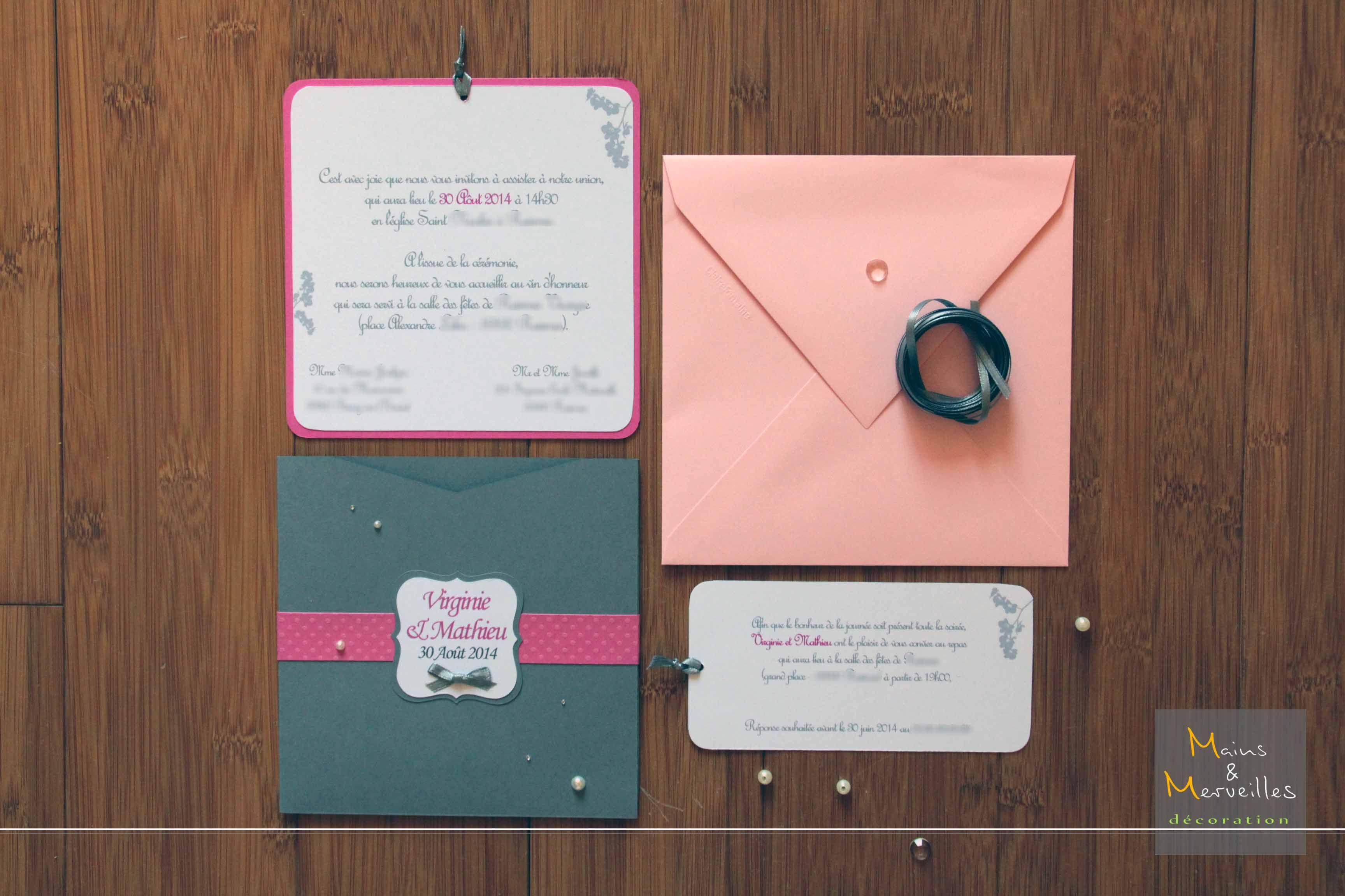 faire part mariage pochette carr e gris fushia blanc et rose poudr chic et l gant. Black Bedroom Furniture Sets. Home Design Ideas