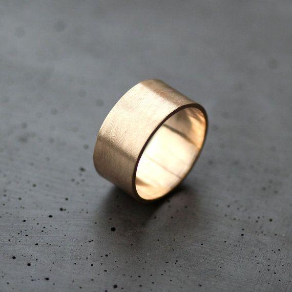 Eheringe rosegold breit  Herren Gold Wedding Band 10 mm breit gebürstet flach 10k ...