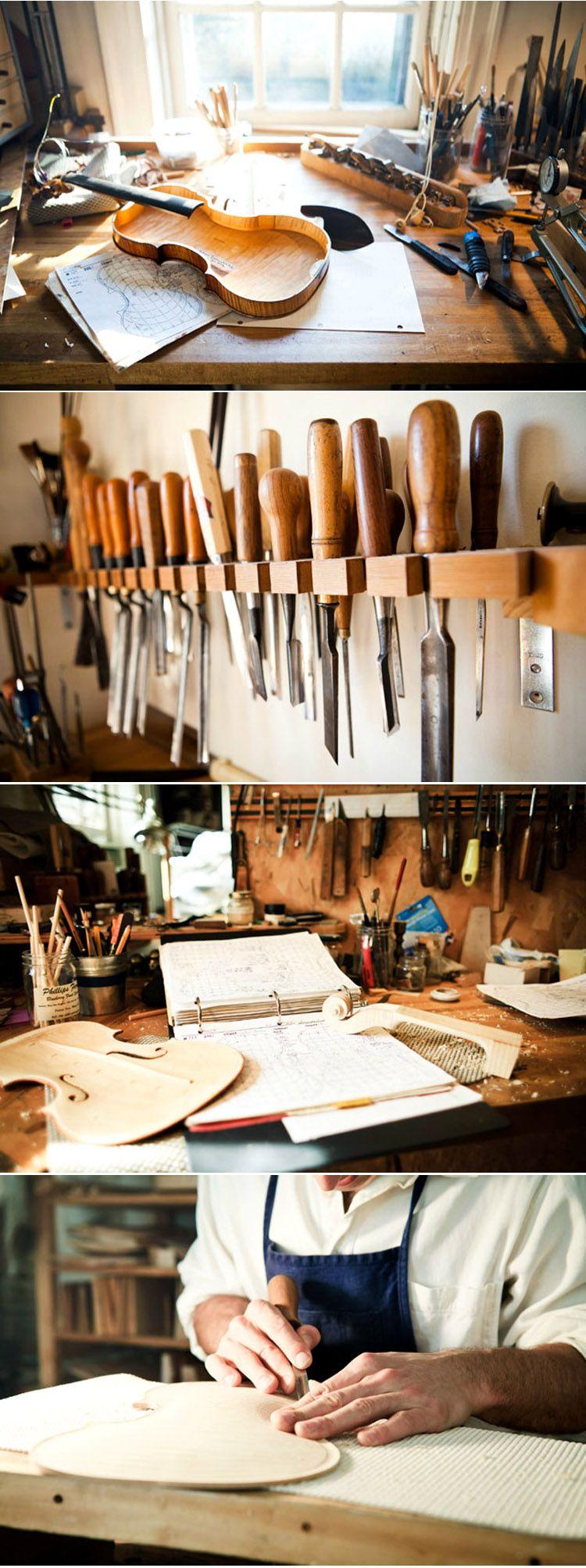 Violin Maker Sam Zygmuntowicz's workshop http://honestlywtf.com/rarebirds/the-violin-maker/