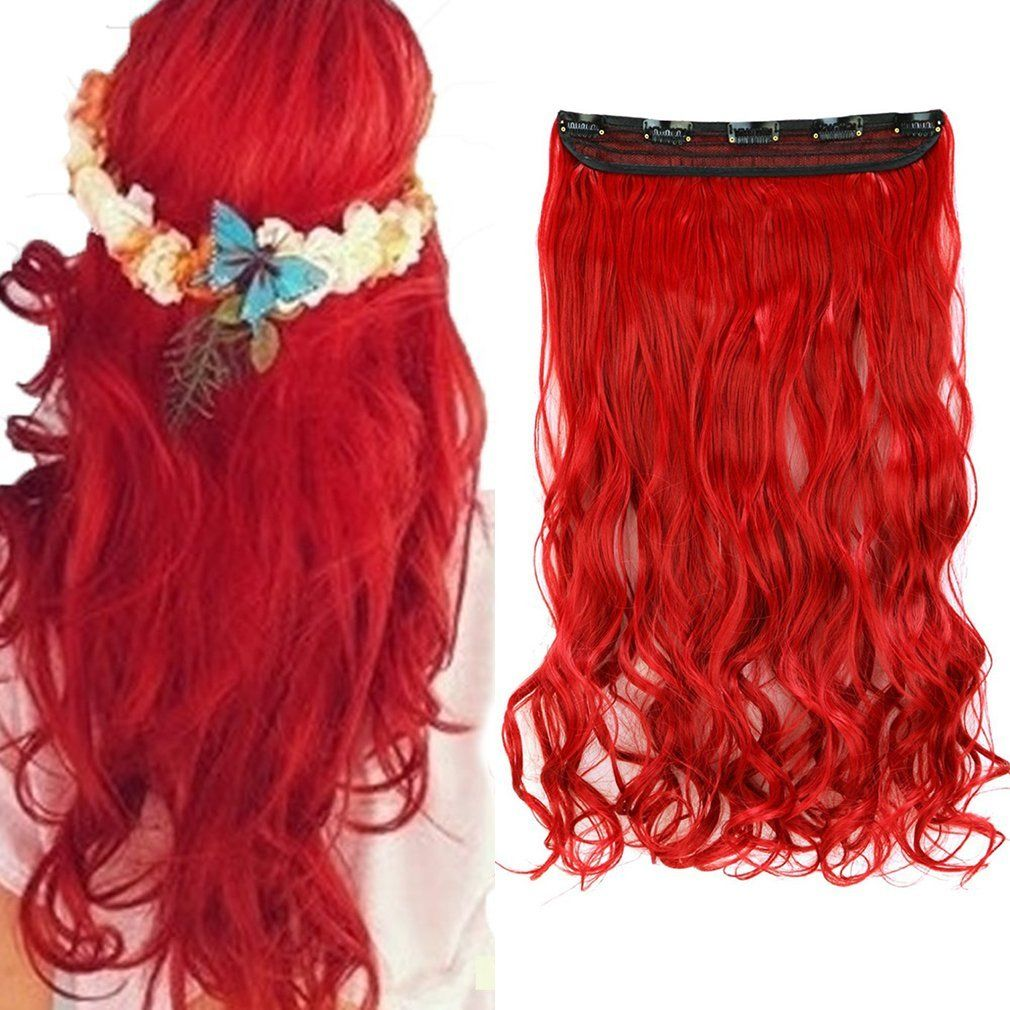 17 Women Dark Red Long Curly 34 Full Head One Piece Clip In 100