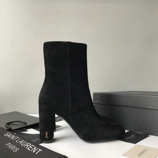 480a86375a3 2017 New Saint Laurent LOULOU 95 Zipped Ankle Bootie in Black Suede Leather