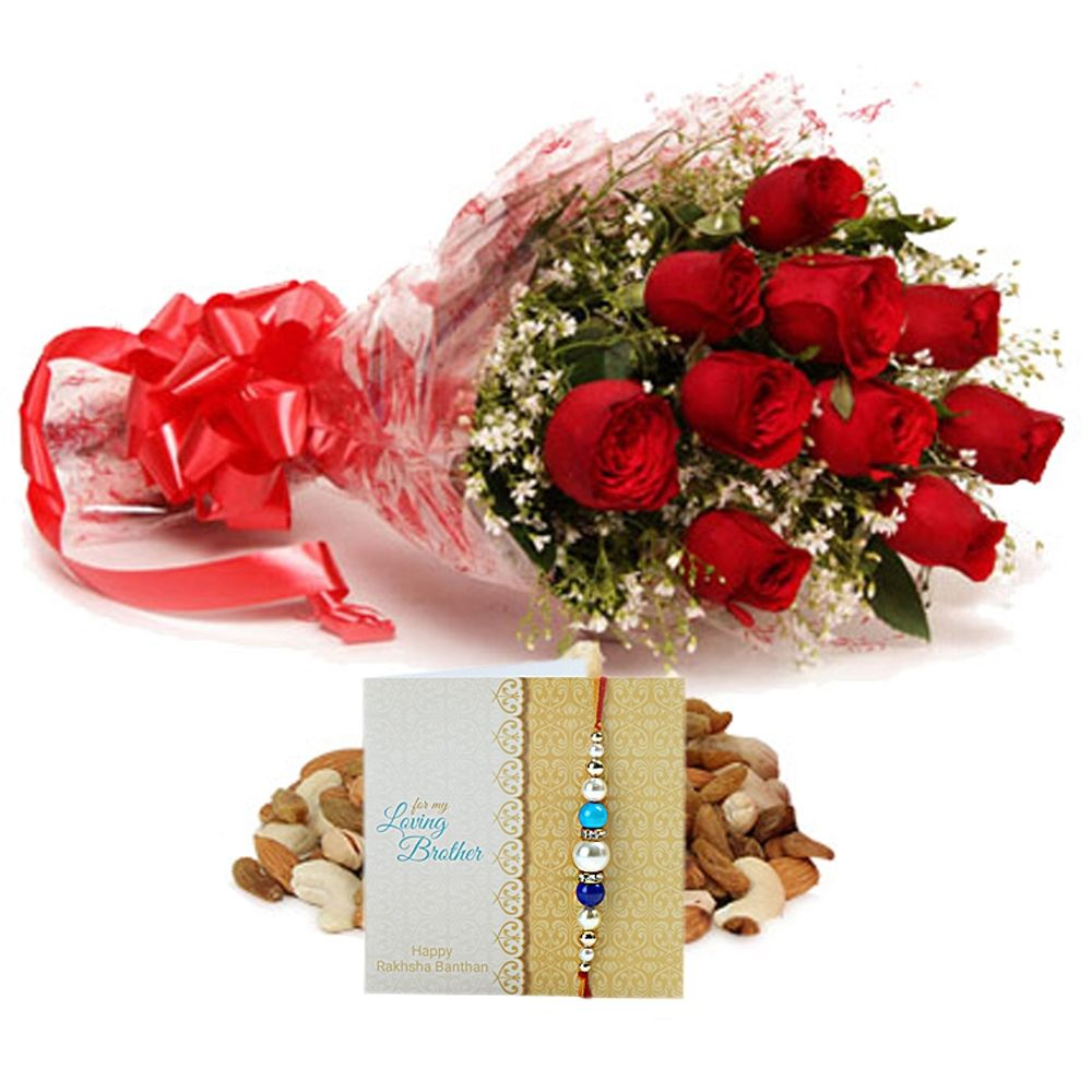 Check out our New Product  Roses and Dryfruits with Rakhi No Flower COD 10 Red Roses and 250gm Mixed dryfruits along with One Rakhi and Roli Chawal.  Rs.856