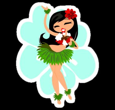 Hula Girl T Shirt By Sinart Hula Girl Girl Stickers Hawaiian Girls