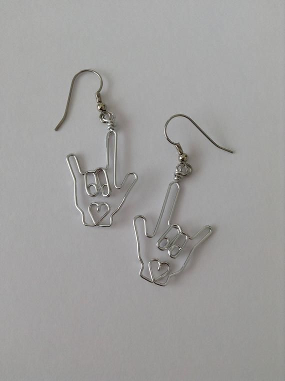 Photo of ASL Sign Language Earrings | Etsy