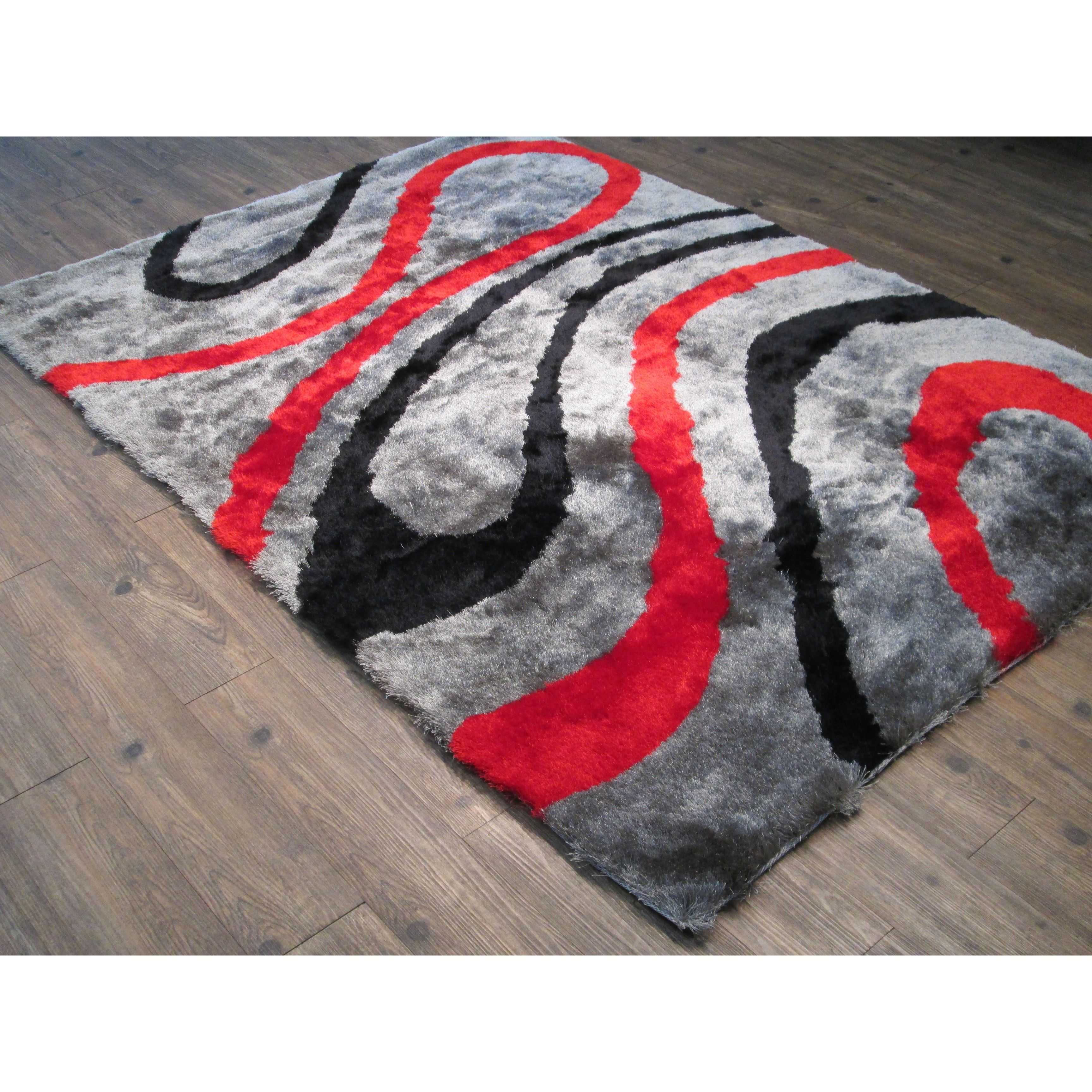 Rug Addiction Red Silver Grey Two Inch Pile Thickness Hand Tufted
