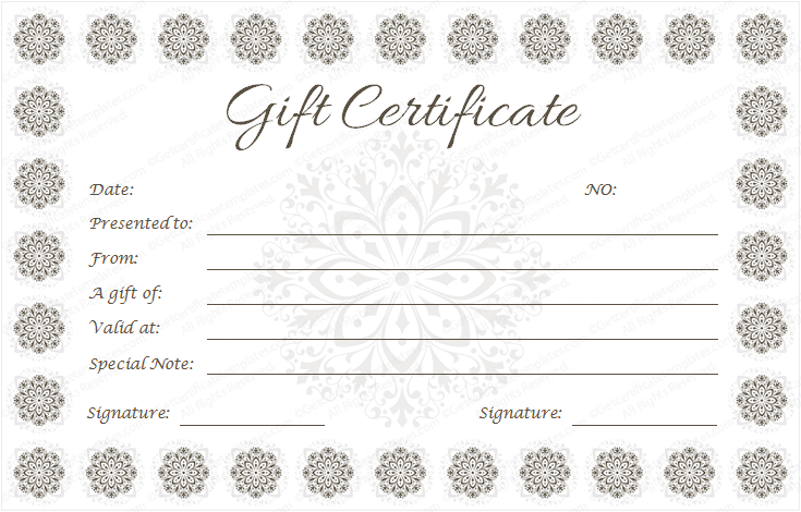 Giftvoucher Gifttemplate Giftcertificate  Beautiful Printable