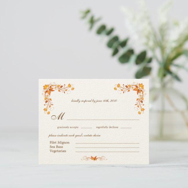 Autumn Foliage Wedding RSVP Card with Envelope | Zazzle.com #autumnfoliage