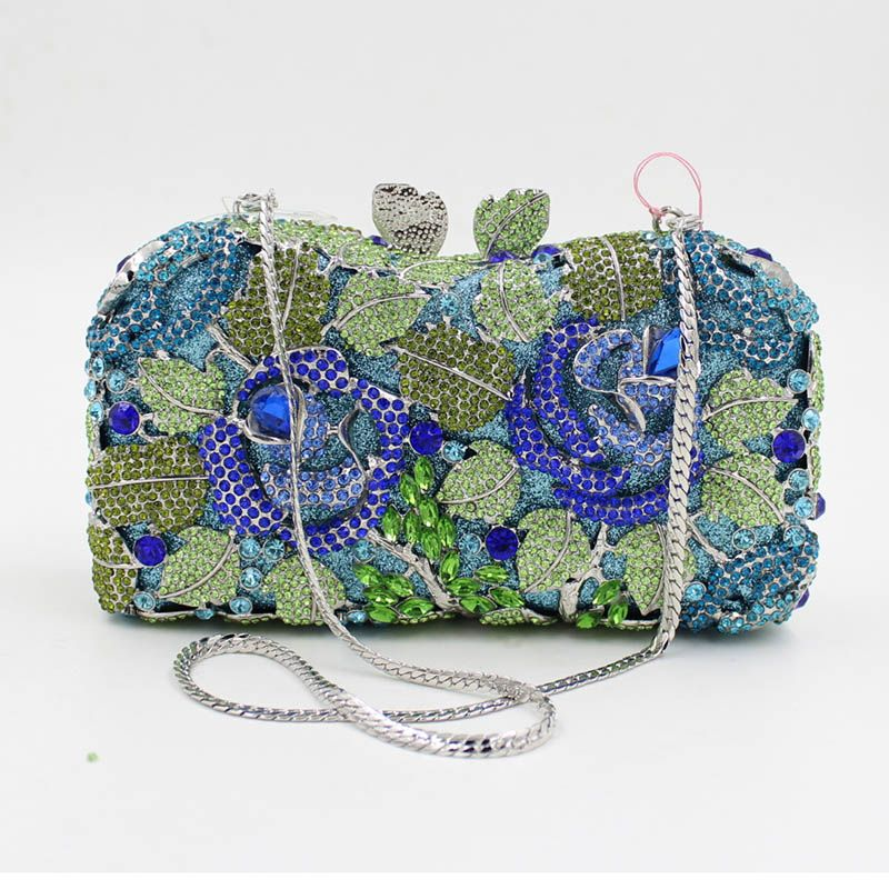 Women Luxury Rhinestone Clutch Evening Handbag Ladies Crystal Wedding Purses  Dinner Party Bag Fashion Flower Mini 0d1ee5ae4023