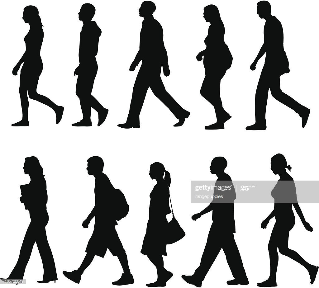 Silhouettes Of People Walking Silhouette People People Illustration Sketches Of People