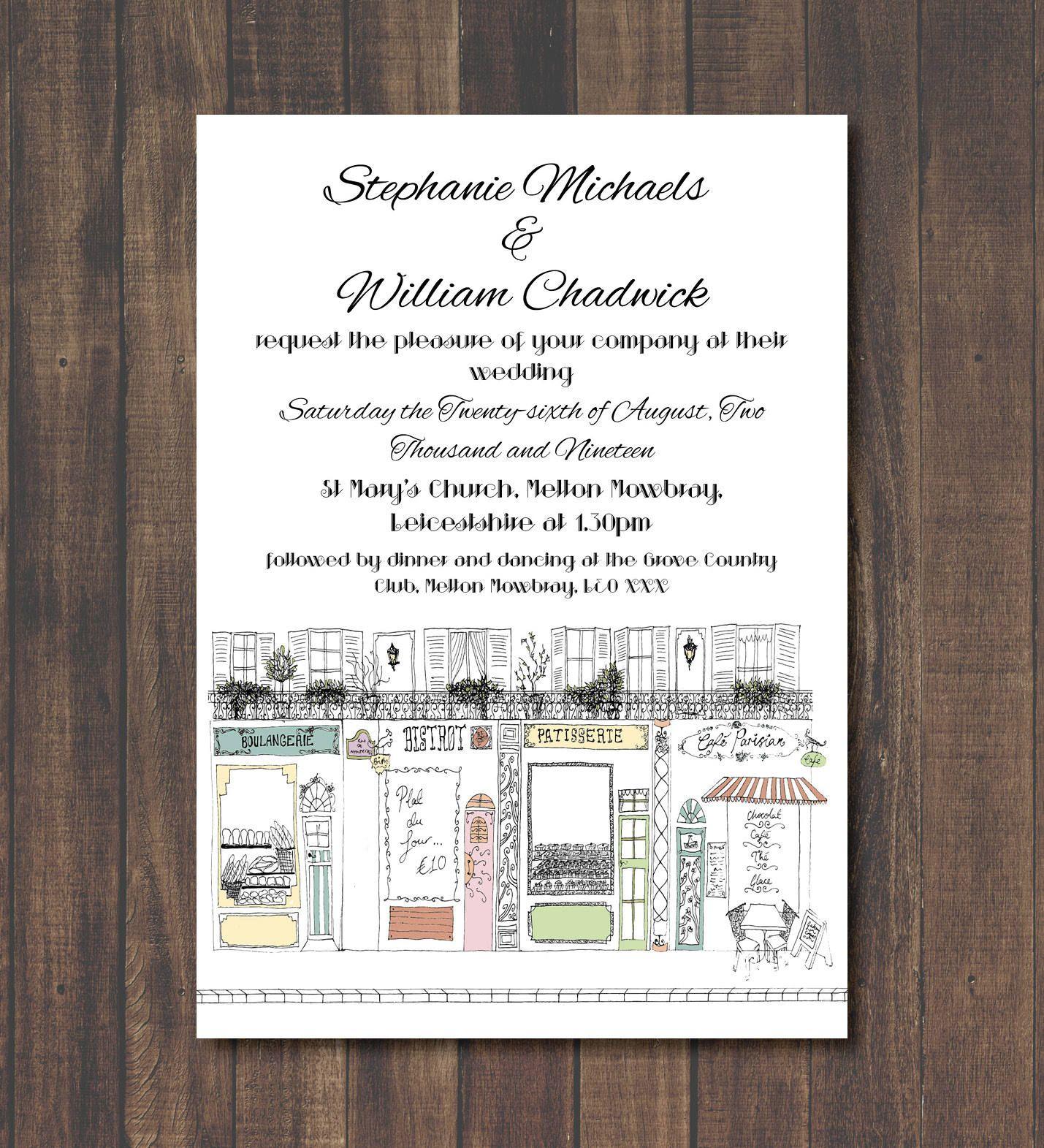 PARIS Printable Wedding Invitation - Destination Wedding - Instant ...