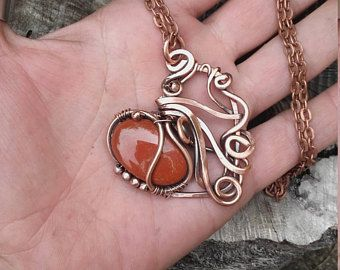 Copper wire heart pendant with natural red jasper stonewire copper wire heart pendant with natural red jasper stonewire necklacewire pendant aloadofball Choice Image