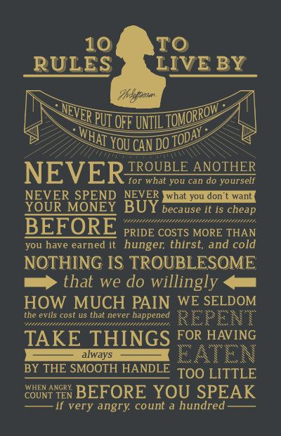 Metallic Gold/Grey Thomas Jefferson's 10 Rules to Live By Motivational Poster. $45.00, via Etsy.