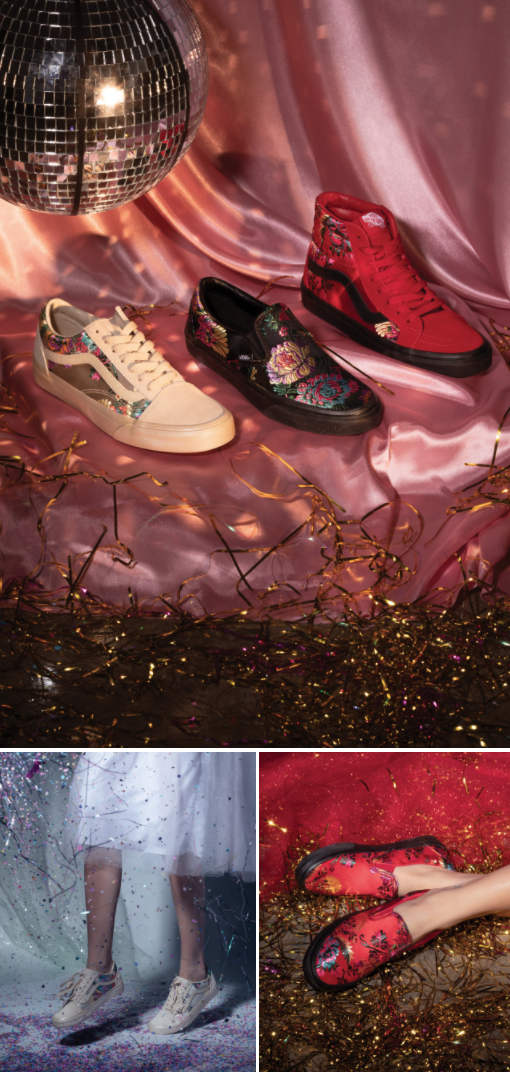 5e538a2f85b It's time to shine with the Satin Brocade Pack. Vans Off The Wall, Sock
