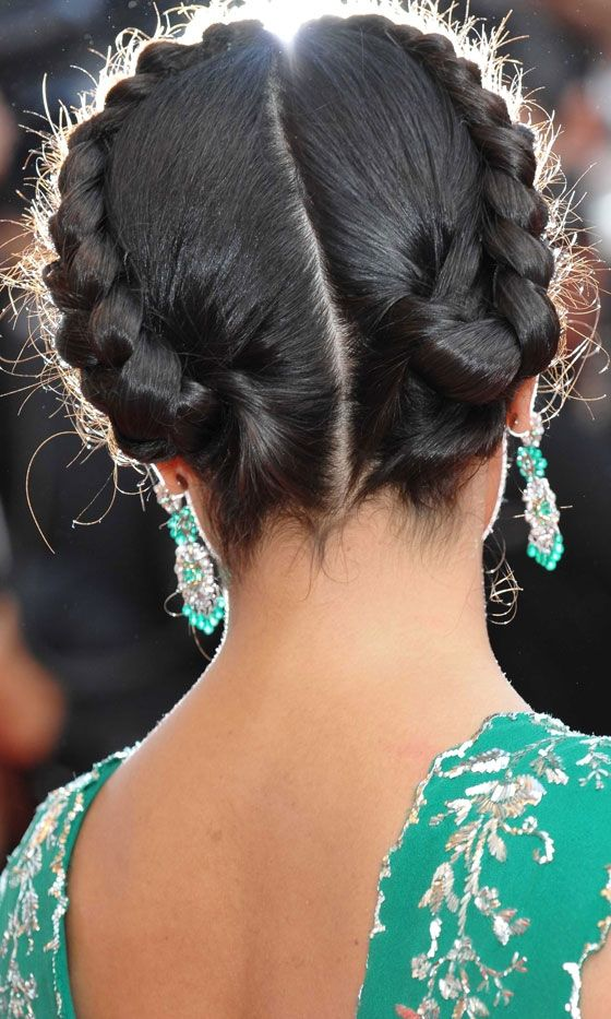Salma Hayeks Stunning Plaited Updo Hairstyle At Cannes 2008