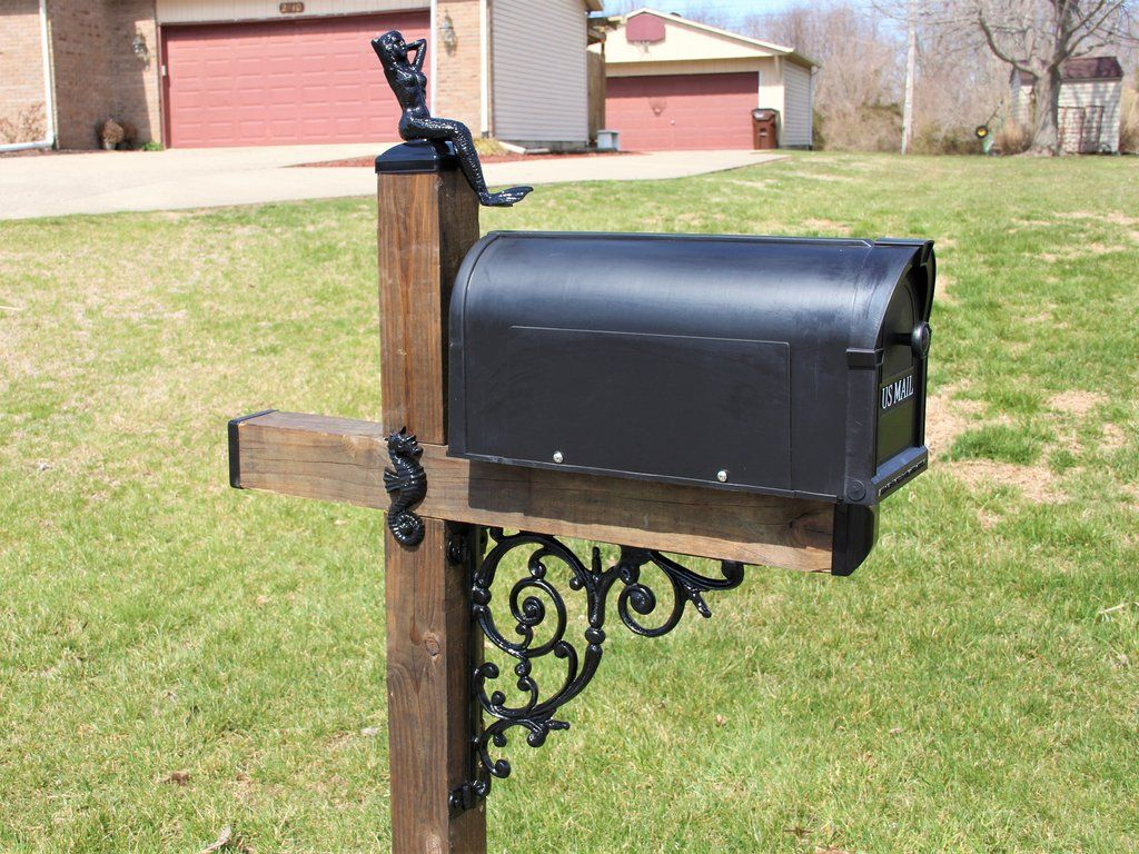 Under The Sea Wrought Iron Wood Mailbox Dress Up Kit Beach Themed Mailbox Post Wrought Iron Mailbox Mailbox Decor Wrought Iron
