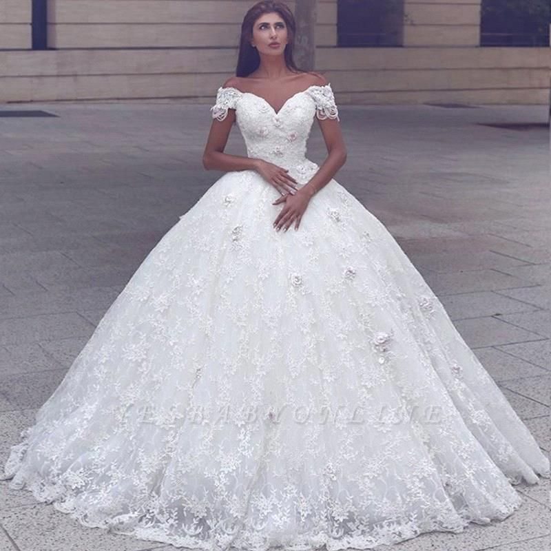 Glamorous Ball Gown Lace Short Sleeves Puffy Wedding Dresses Ball Gown Wedding Dress Ball Gowns Wedding Ball Dresses