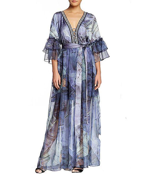 Blue Renaissance Chiffon Maxi Dress