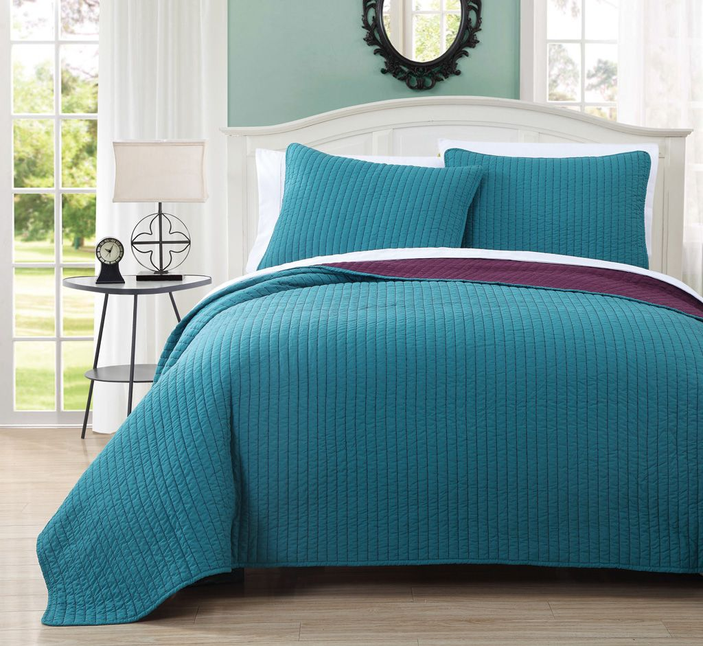 3 Piece King Project Runway Teal/Plum Quilt Set | Palm Springs ... : teal quilt set - Adamdwight.com