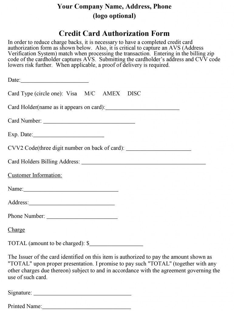 Credit Card Form Template How To Properly Craft A Credit Card Authorization Form Credit Card Charges Credit Card Images Credit Card