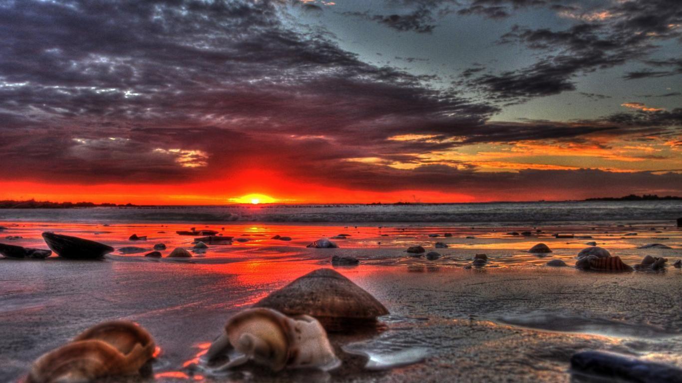 Beautiful Beach Sunset Amazing Free Wallpaper With 1366x768