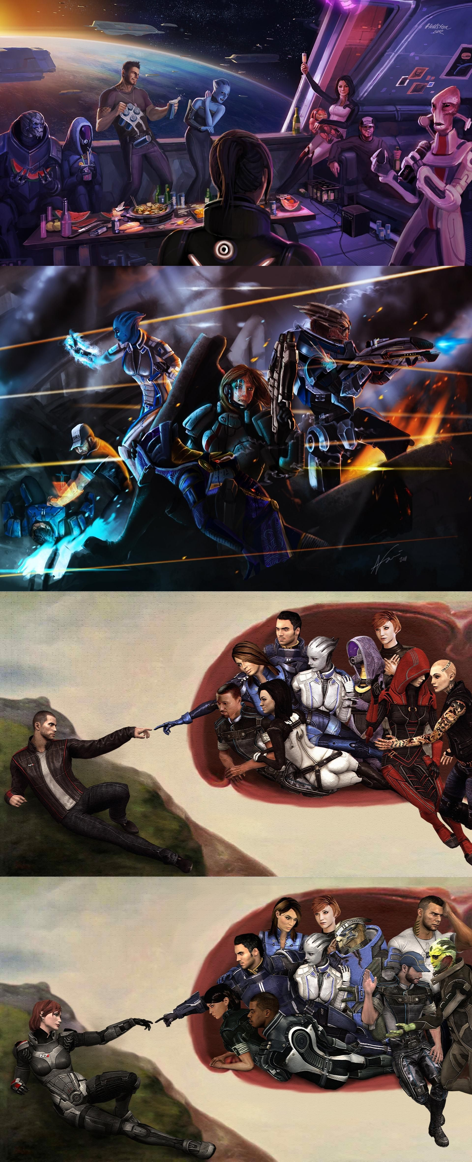 Mass effect fan art shepard team mural hand creation for Creation of adam mural