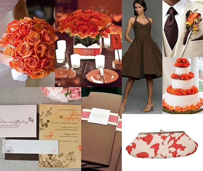coral and brown wedding :)
