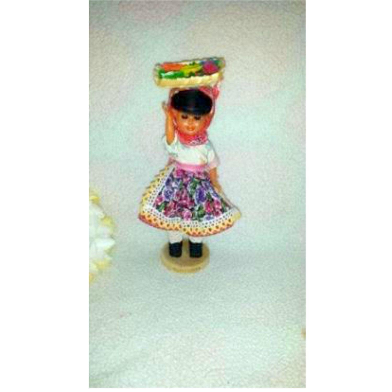 Vintage Portugal Souvenir Doll,Wood Base, Spanish Doll,Vintage Portugese Doll, Circa 1960s, Fruit Basket on Head Doll, Ethnic Doll, Souvenir by JunkYardBlonde on Etsy #vintagedoll #souvenirdoll #portugal #portugalsouvenir #vintagesouvenirdoll #spanishdolls