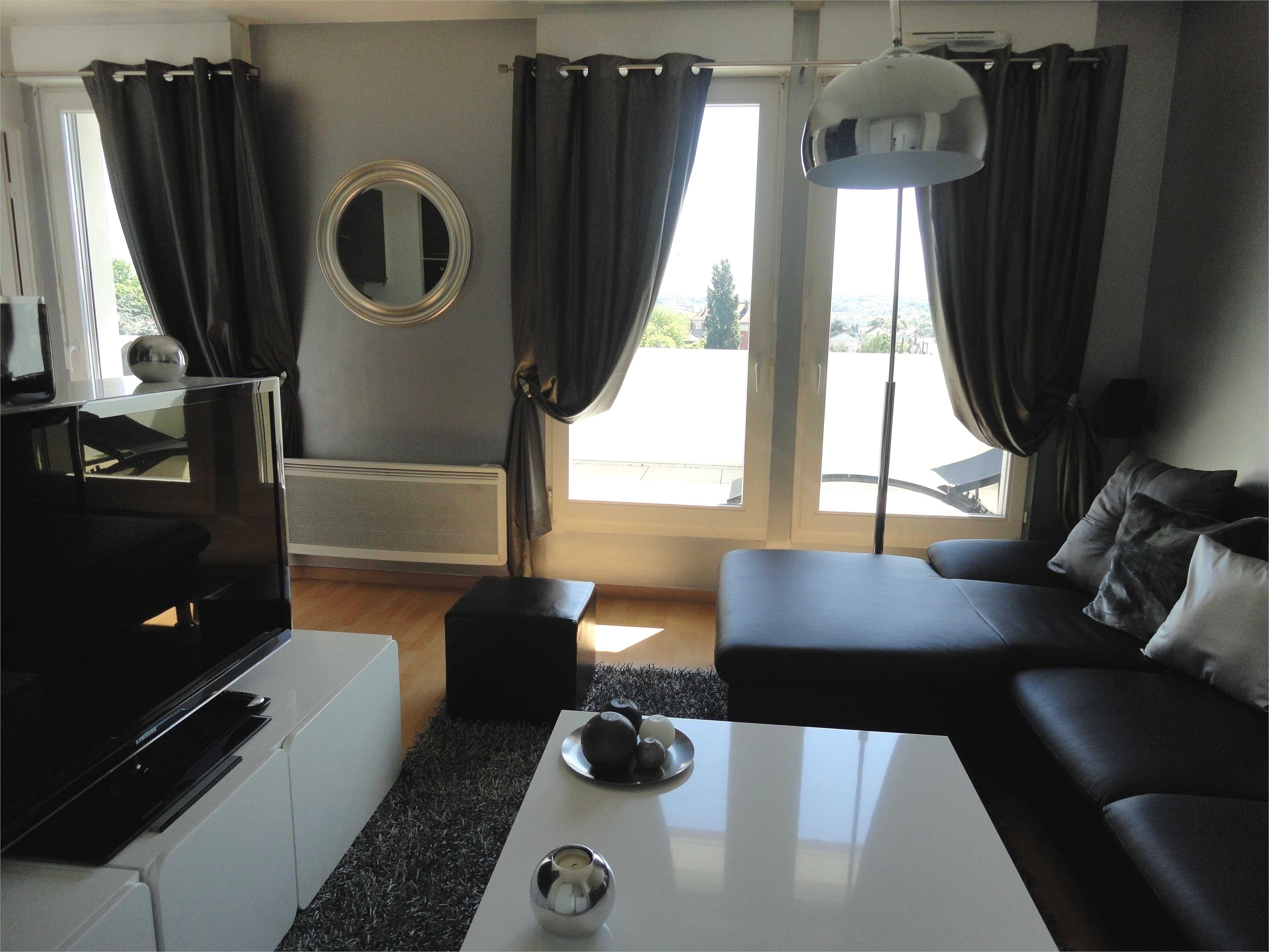 Deco moderne objet deco salon salle manger noire et - Rideaux salle a manger salon ...