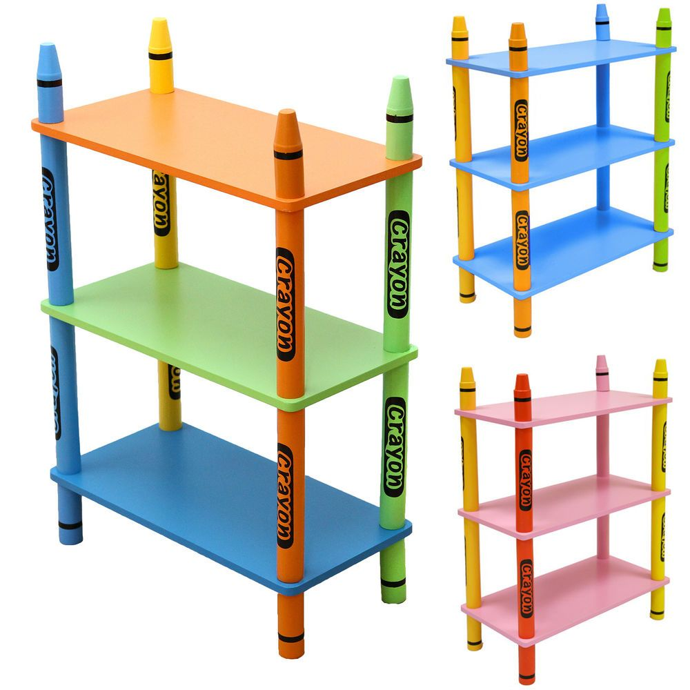 Details About Kiddi Style Childrens Crayon Wooden Shelves
