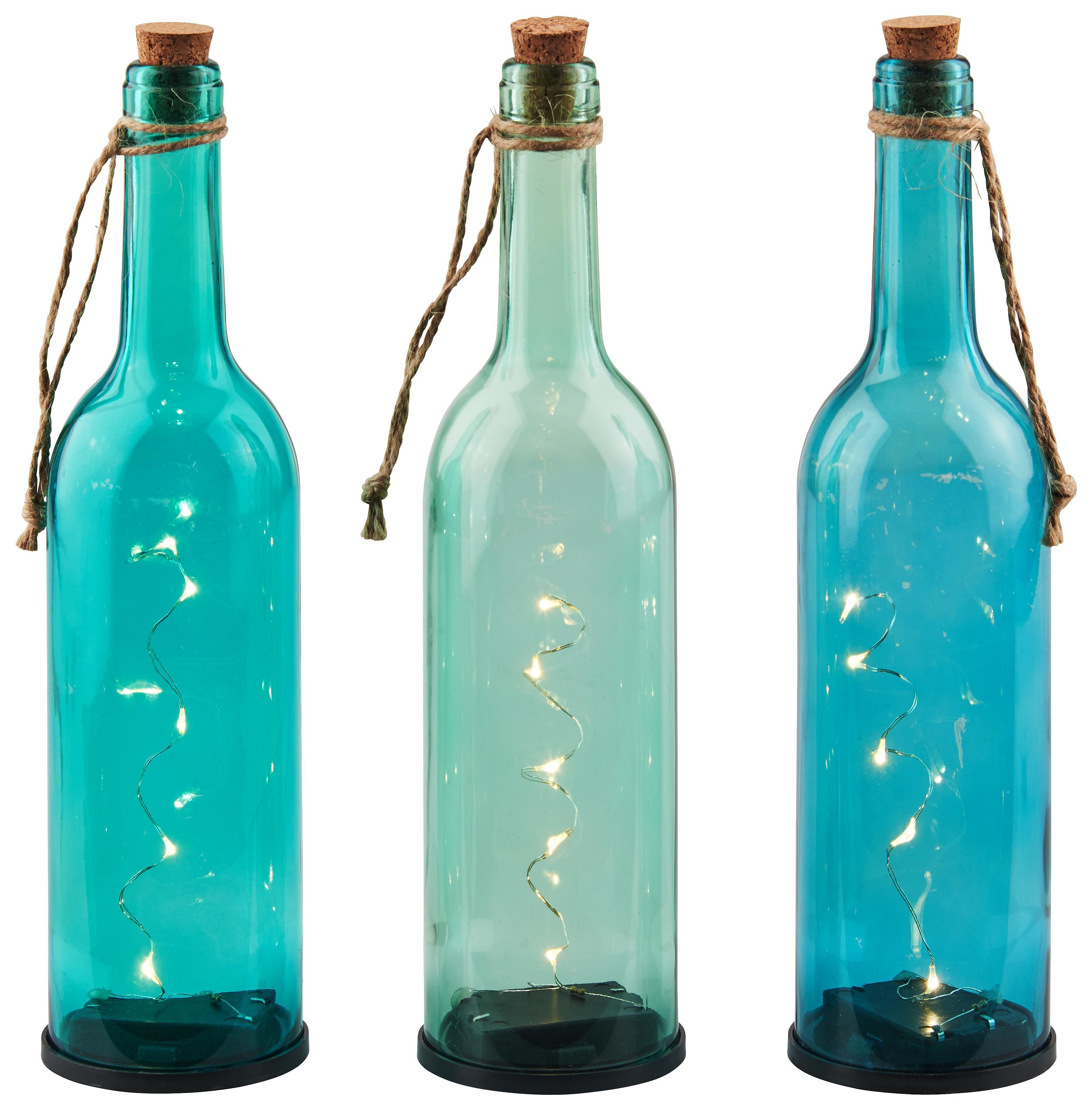 Blaue Deko Glasflaschen Mit Led Lichterkette Innen Summer In St
