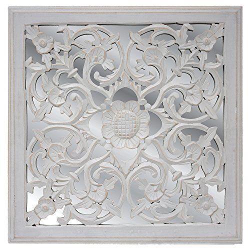 Fetco Home Decor Wall Art Maia Grey Mirrored Medallion Wall Art ...