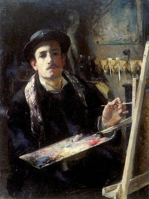 Autorretrato en la Academia Julian. Lucien J. Simon 1881
