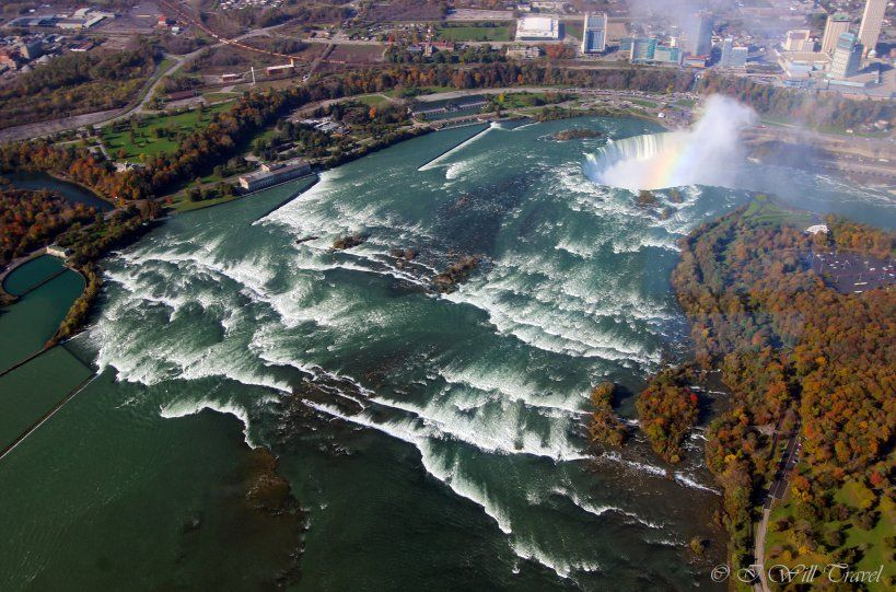 Arial view of Niagara Falls taken from a helicopter ride