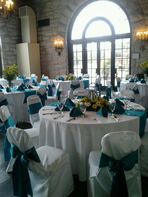 Yellow And Teal Wedding Reception Centerpieces