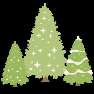 Glittery Pine Trees Set SVG scrapbook title winter svg cut file snowflake svg cut files for cricut cute svgs free