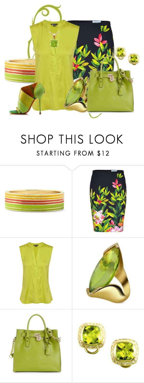"""Green Bag"" by hope-houston ❤ liked on Polyvore featuring Mixit, Blumarine, Vince, GUILLAUME HINFRAY, Forzieri, Michael Kors, Buccellati and Blue Nile"