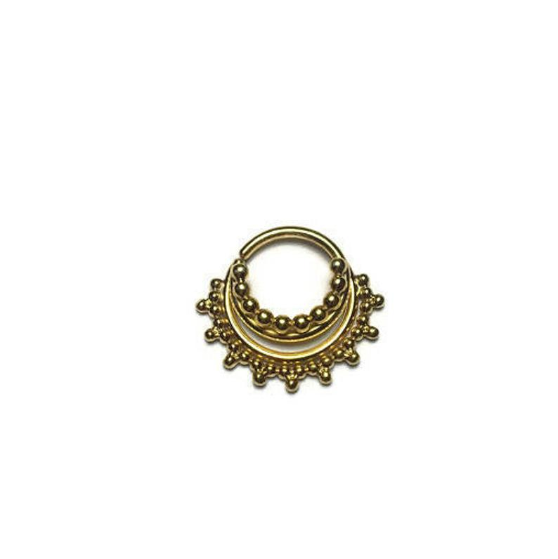 Gold Triple Stacked Beaded Septum Ring With Gap Piercing Etsy Silver Nose Ring Septum Ring Jewelry Plate