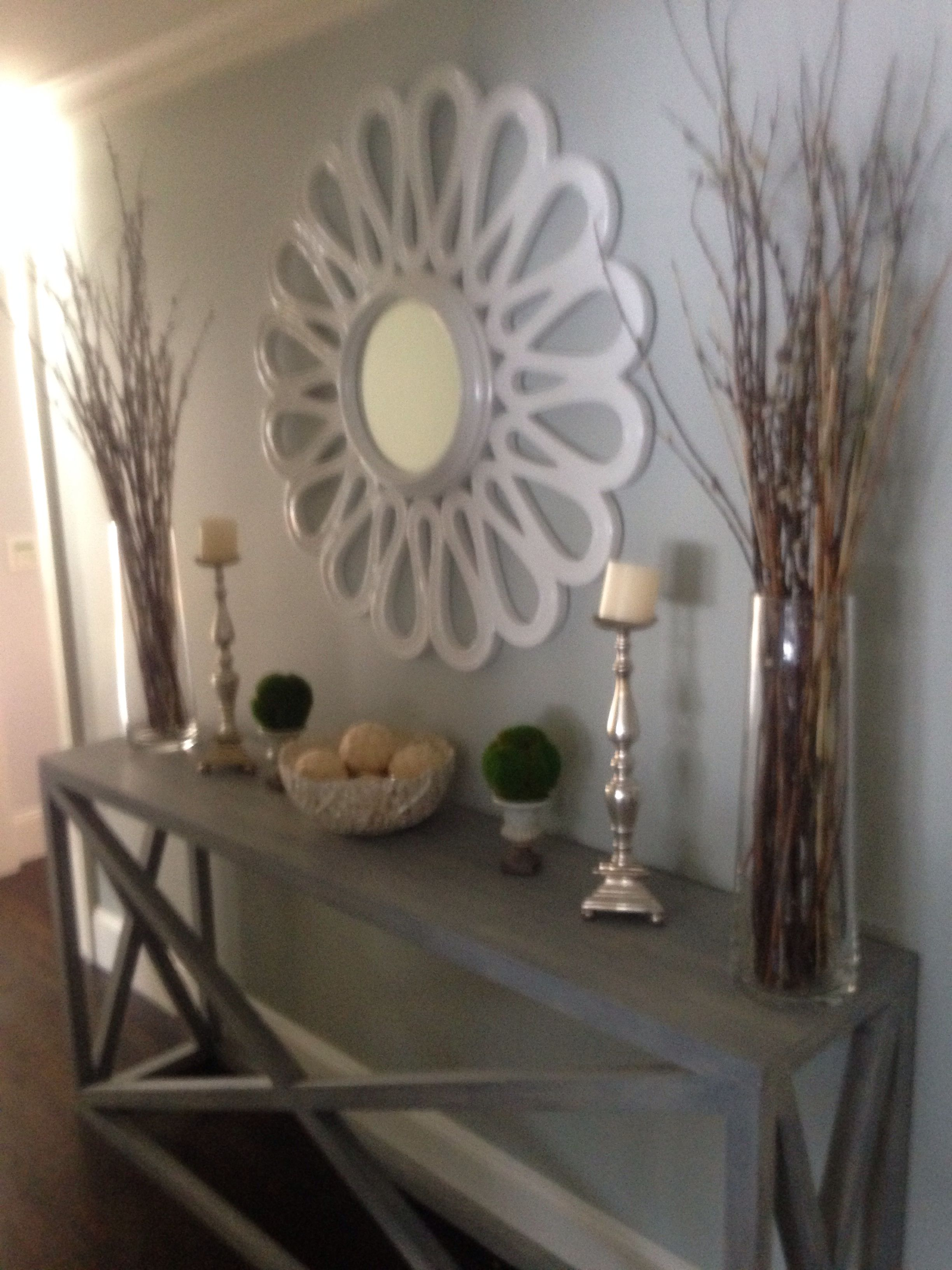 Upstairs hallway decor  Love this mirror Great way to decorate a long hallway  HOME
