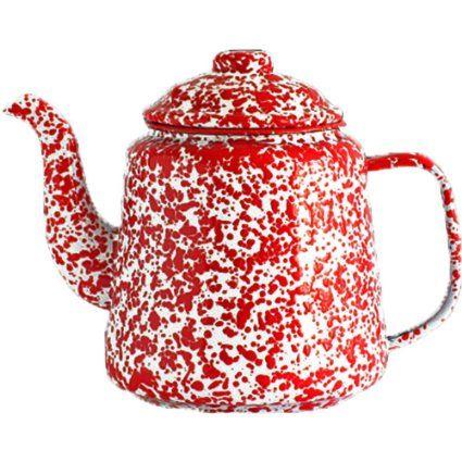 robot check tea pots enamelware cookware display