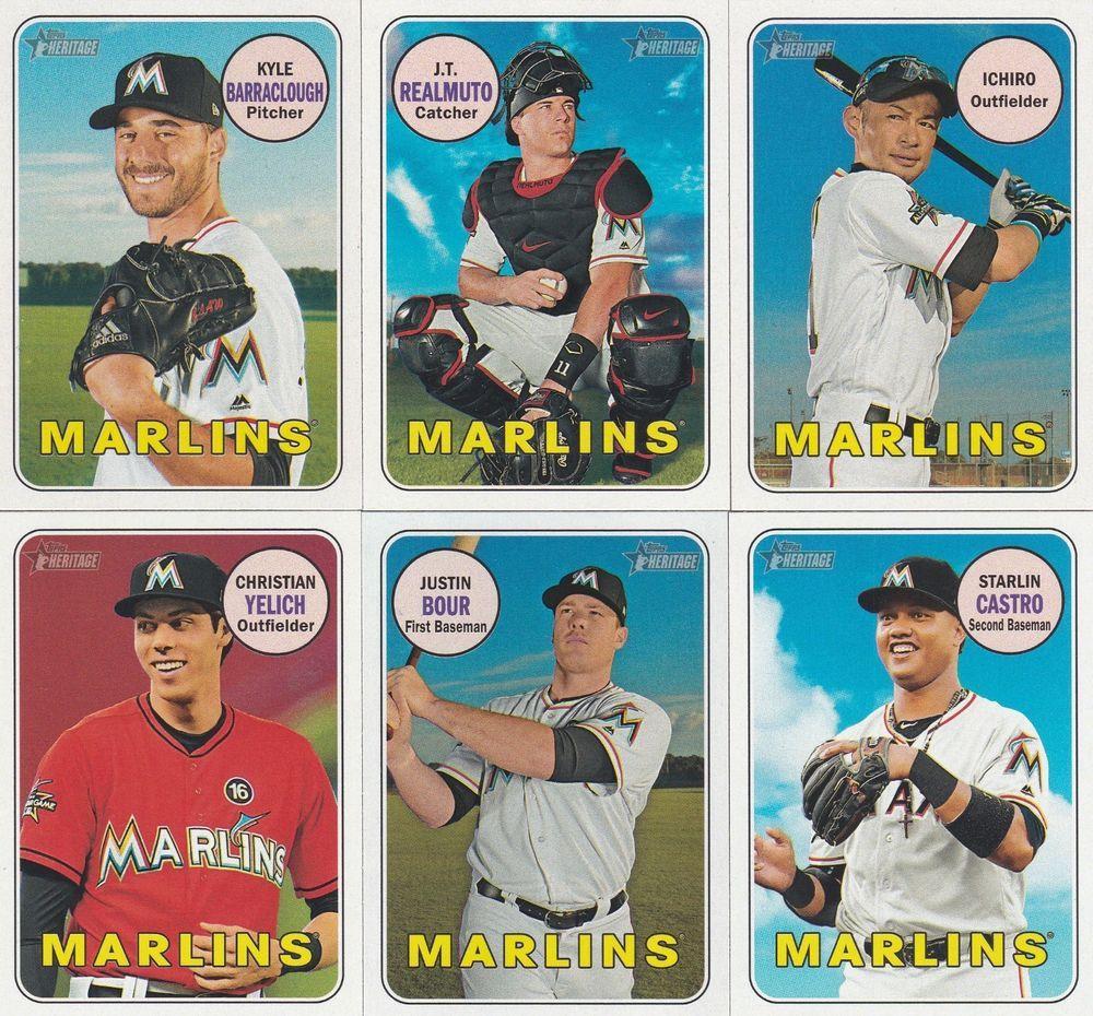 2018 Topps Heritage Baseball Miami Marlins 6 Sports Baseball