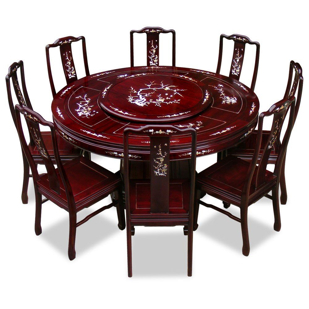 60in Rosewood Pearl Inlay Design Round Dining Table With 8 Chairs Home Kitchen Round Dining Table Round Dining Table Sets Dining Table
