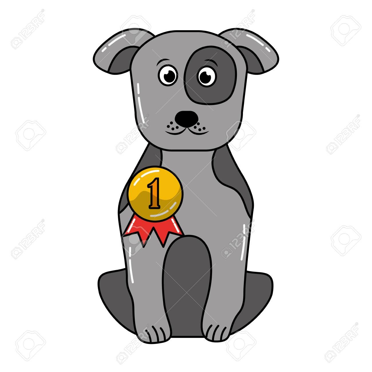 cute dog sitting with medal award vector illustration Illustration
